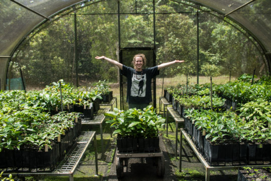 Marine at RR's Native Nursery in the Daintree
