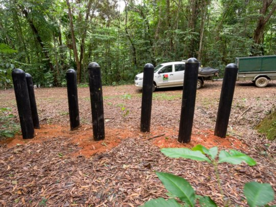 The Recycled Tyre Bollards Installed on Lot 32