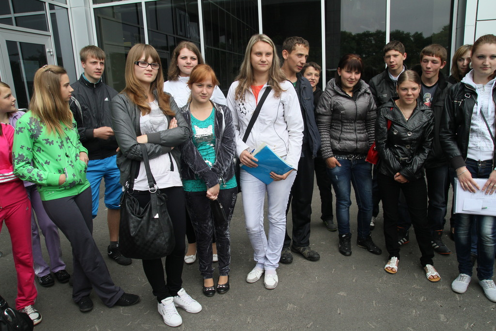 First meetinig of young people near shopping mall
