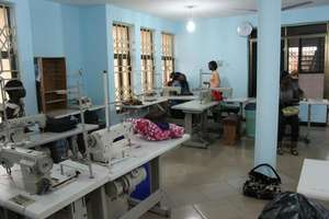 Seamstresses in the new sewing room