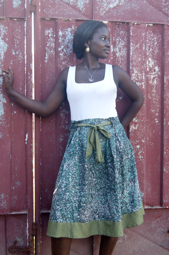 The lovely Prairie Skirt also sewn in Ashaiman.