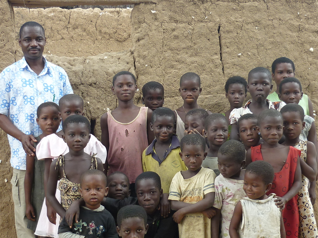 A group photo with children to be placed in school