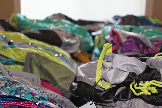 Backpacks ready to be delivered to kids