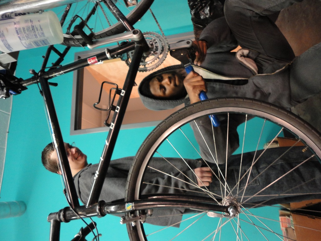 All About Bikes mechanics hard at work in class