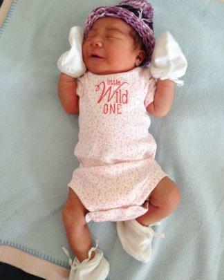 Baby hat made by Vicki's granddaughter Selah