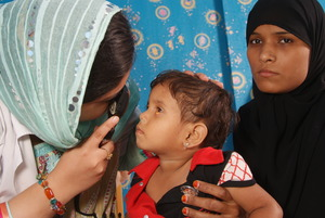 Baby Humna being examined at LRBT