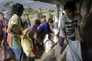 Providing food to the villagers