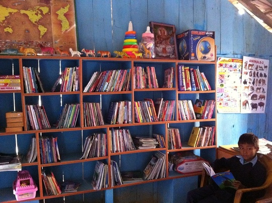 Mini-library at Shree Jana Jagriti School, Sarlahi
