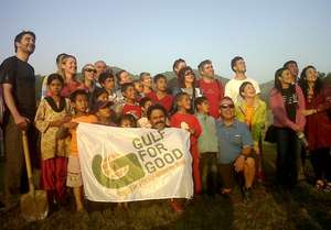 Challengers with children at Mission Himalaya