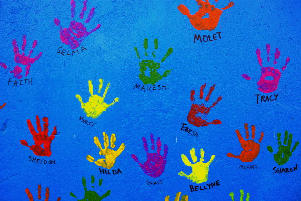 Handprints on the Kibera School for Girls walls
