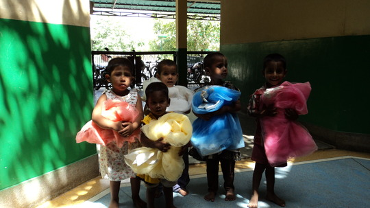 Tiny Tots with their Mosquito Nets
