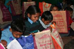 Children after receiving the gifts