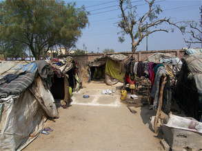 A housing encampment where children live