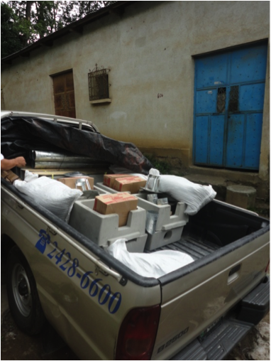 Onil stoves, from Helps International, arriving at