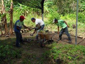 Community members working in the tree nursery