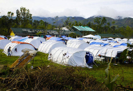 Asia America Initiative - makeshift buildings