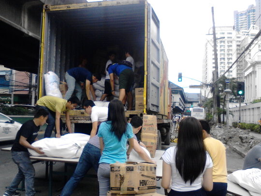 Packing relief packages destined for the Visayas
