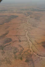 View of the dry Sahel region from the airplane