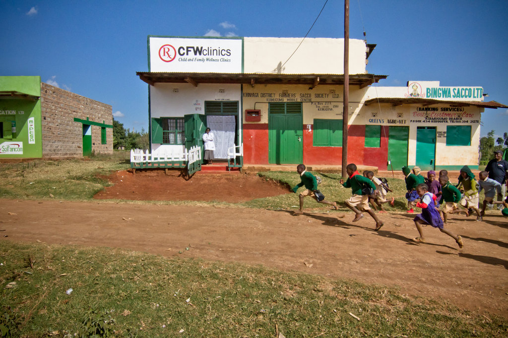 Children running by CFW clinic