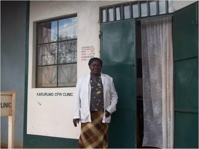 Marietta outside her CFW clinic