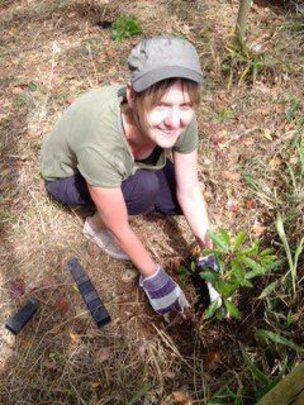 Erynn Stephens of RR planting trees