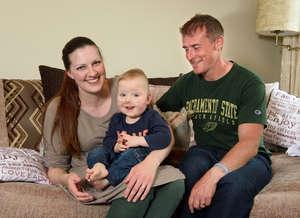 Sebastian at home with Mum and Dad