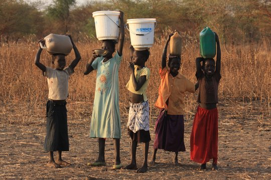 Sudanese refugees fetch water near Doro camp