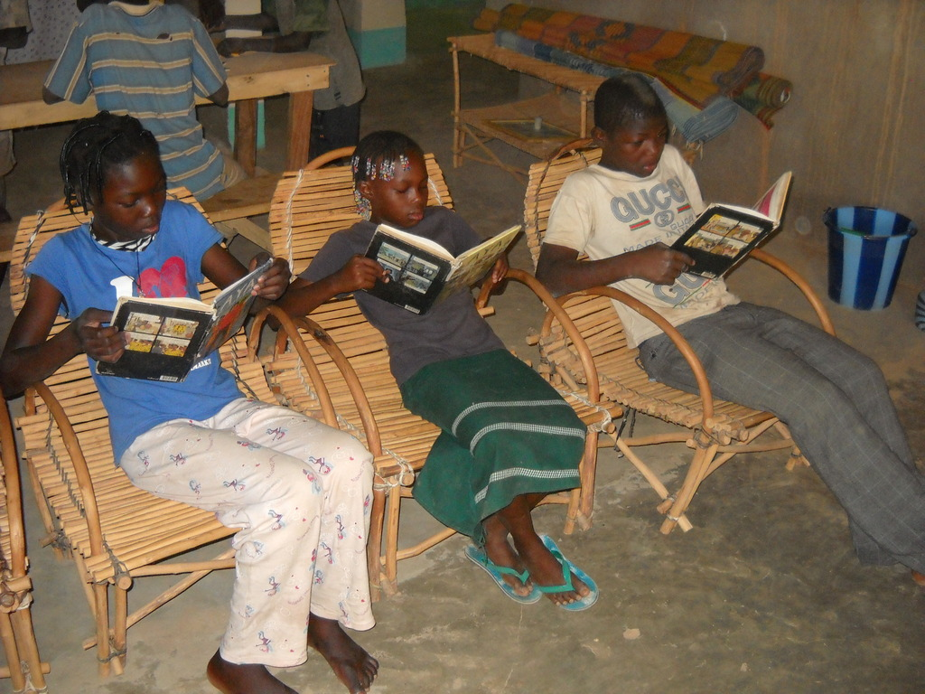 Kids reading the books at one of the libraries