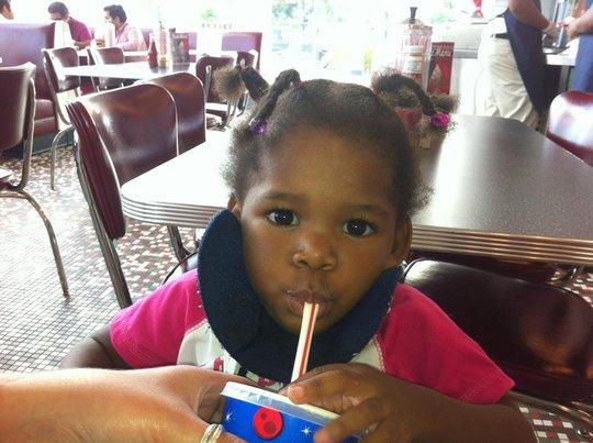 Frantina enjoying a milkshake!