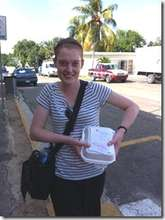 Katie carrying her blood in a styrofoam container
