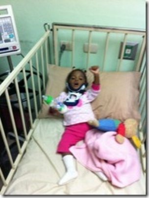 """Frantina """"waiting"""" for surgery in the hospital"""
