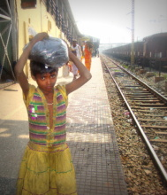 Girl Alone at the station  before being rescued