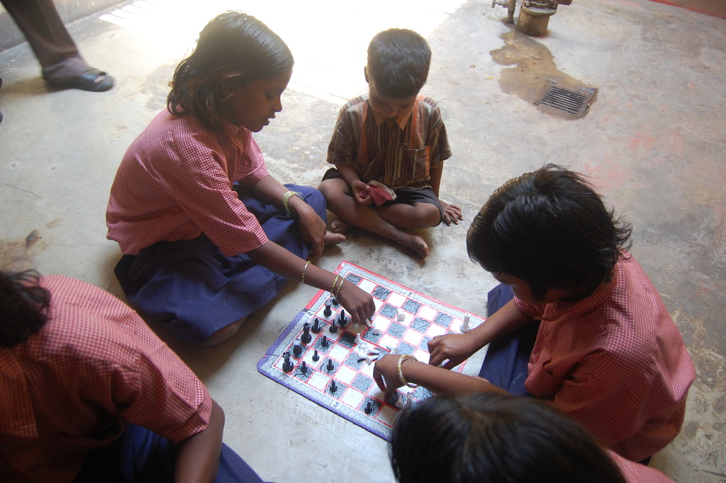 Girls Learning Chess at the Centre