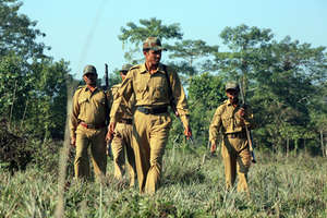 Guards on anti-snare walk in south India