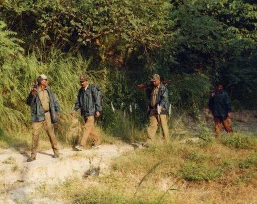 Staff on routine patrol duty in Corbett TR