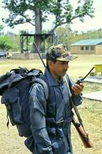 An equipped forest guard in Corbett Tiger Reserve
