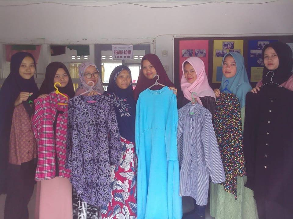 The clothing made by the students
