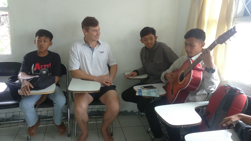 John with the boys at VTC English course