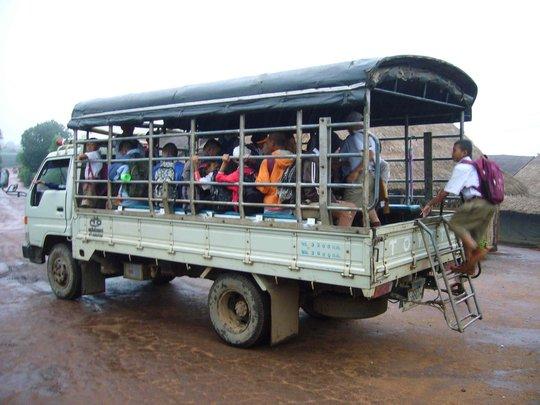 School bus taking refugee children to school