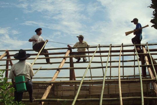 Repairing the roof of the girl