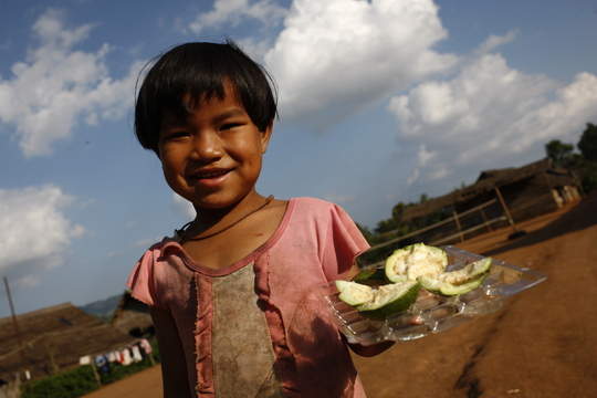 An offering of fruit from one of the girls