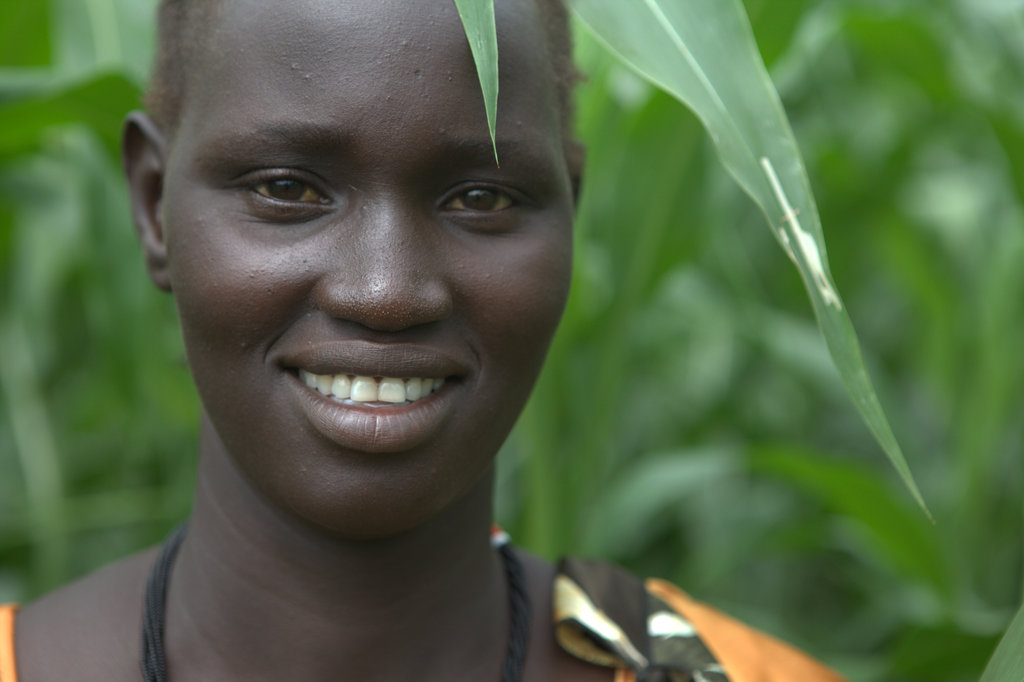 Veronica Ajok is proud of her crops.