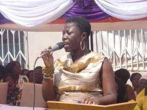 Director of FrankEve giving her speech
