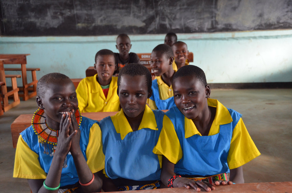 Girls in their new classrom, Daaba Primary School