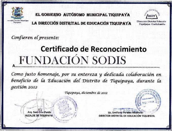 Certificate of recognition to the SODIS Foundation