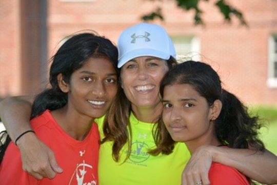 Julie Foudy with Nikhitha (left) & Sangita (right)