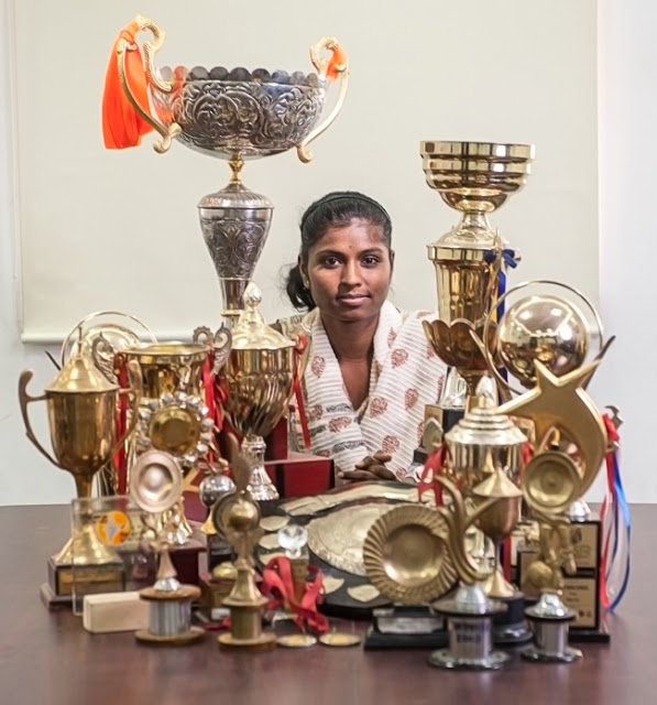 Parvati with the prizes she has won over the years