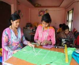 Sharmila is training other girls in her shop