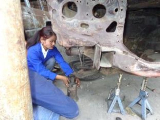Kabita at an Auto Mechanics Training Session