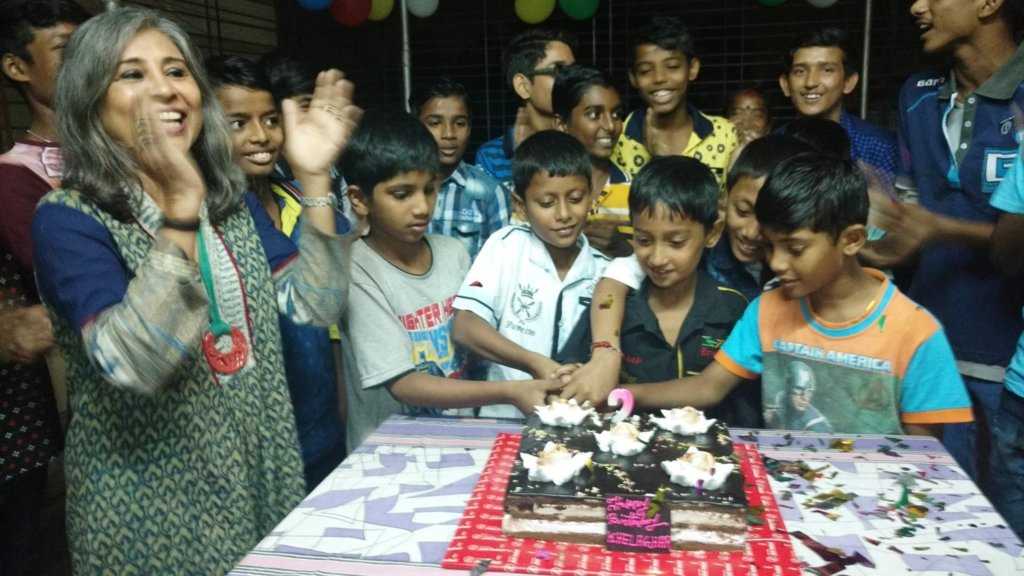Urmi Basu celebrating with the boys